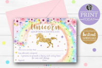 Adoption Certificate Unicorn Printable Unicorn Adoption Certificate Unicorn  Game Adopt A Unicorn Rainbow Unicorn Party Adopt A Unicorn 0243 with Unicorn Adoption Certificate Templates