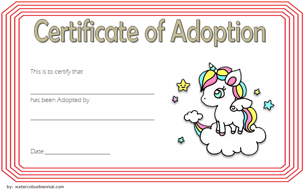 Adorable Unicorn Adoption Certificate Free Printable (1St regarding Best Unicorn Adoption Certificate Templates