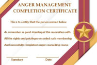 Anger Management Certificate: 15 Templates With Editable in Best Anger Management Certificate Template