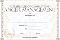 Anger Management Certificate Of Completion Template Download regarding Anger Management Certificate Template Free