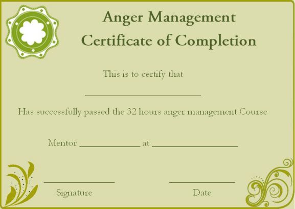 Anger Management Certificate Of Completion Template pertaining to Best Anger Management Certificate Template