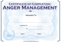 Anger Management Completion Certificate Template Download regarding Anger Management Certificate Template