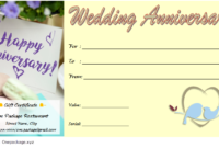 Anniversary Gift Voucher Template 2020 For Restaurant 2 In pertaining to Anniversary Gift Certificate