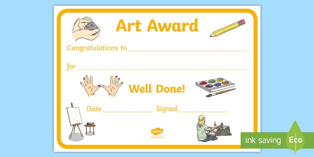 Art Award Certificate Template | Primary Classes For Free Art Award Certificate Templates Editable