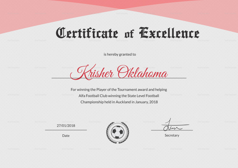 Award Of Excellence Certificate Template Awesome Football in Fresh 10 Certificate Of Championship Template Designs Free