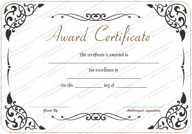 Award Of Excellence Template With Fresh Math Certificate Template 7 Excellence Award