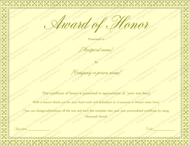 Award Of Honor Certificate Template (Editable For Word) With Fresh Honor Award Certificate Templates
