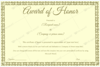Award Of Honor (For Guest) – Word Layouts | Certificate throughout Fresh Honor Award Certificate Templates