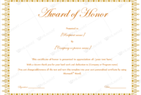 Award Of Honor (For Presentation Guest) – Word Layouts with Fresh Honor Award Certificate Template