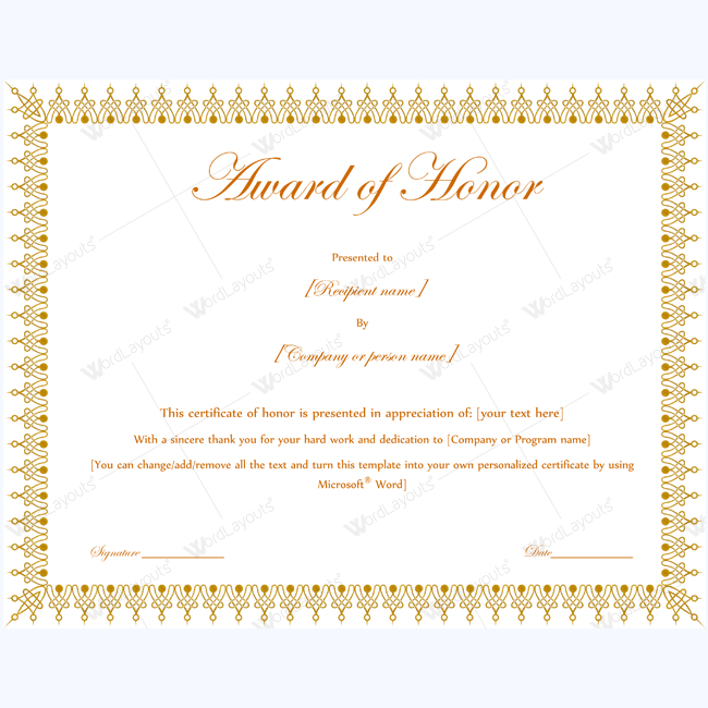 Award Of Honor (For Presentation Guest) - Word Layouts With Fresh Honor Award Certificate Template