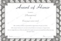 Award Of Honor (Formal Design) – Word Layouts | Teacher for Honor Award Certificate Templates