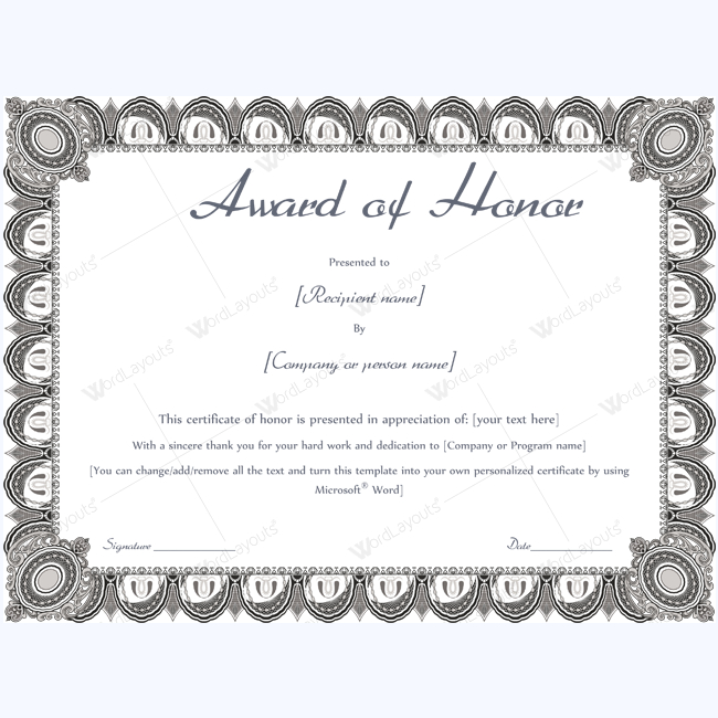 Award Of Honor (Formal Design) - Word Layouts | Teacher Pertaining To Fresh Honor Award Certificate Template
