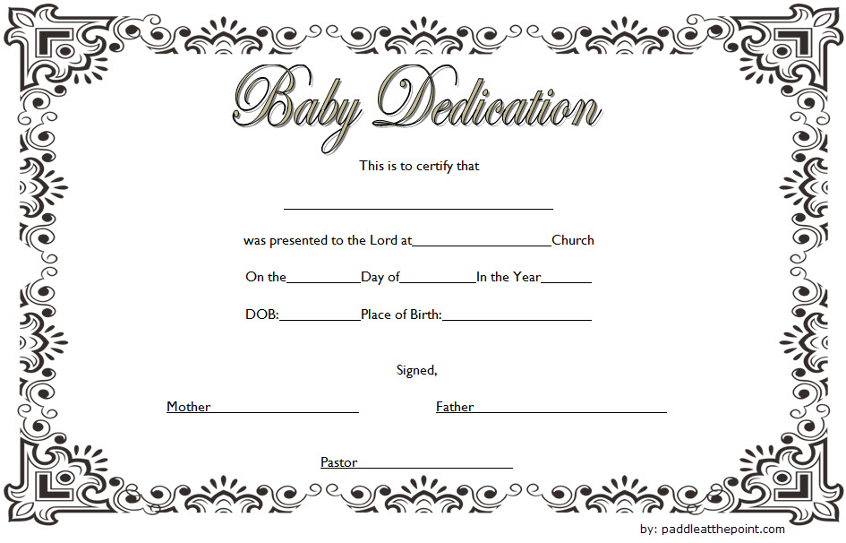 Baby Dedication Certificate Template (3) - Templates Example With Regard To Unique Free Printable Baby Dedication Certificate Templates