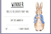 Baby Shower Game Winner Certificate Beatrix Potter Peter with regard to Baby Shower Winner Certificates