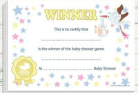 Baby Shower Games Prize – Winners Certificate (Unisex) Party with Baby Shower Winner Certificates