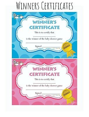 Baby Shower Winners Certificate - Blue Pink Boy Girl Unisex - 10/20 Pack -  Prize | Ebay with Baby Shower Winner Certificates