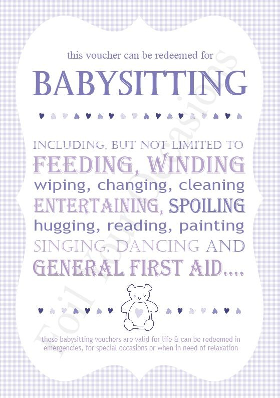 Baby Sitting Vouchers, Great For A Prizes For Baby Shower Within Fresh Baby Shower Gift Certificate Template
