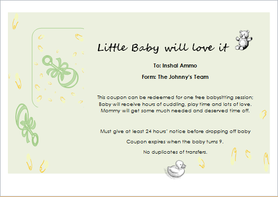 Babysitter Gift Certificate Template For Word | Document Hub Throughout Babysitting Gift Certificate Template