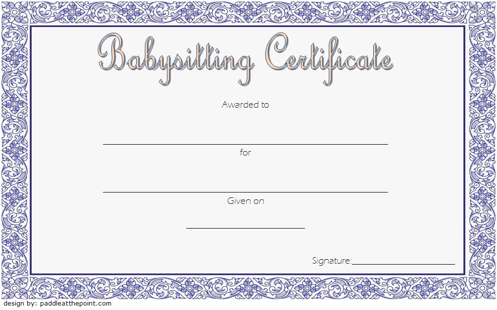Babysitting Certificate Template Free 1   Certificate Regarding Babysitting Certificate Template