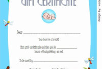 Babysitting Certificate Template Free Unique Babysitting throughout Best 7 Babysitting Gift Certificate Template Ideas