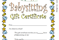 Babysitting Gift Certificate Template 4 Free | One Package within Best Free Printable Babysitting Gift Certificate