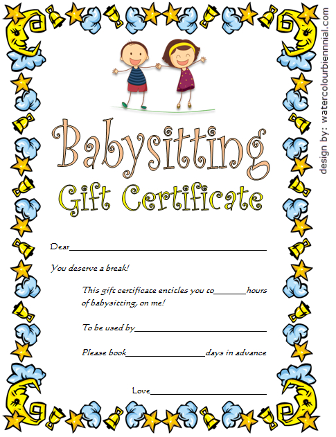 Babysitting Gift Certificate Template 4 Free | One Package Within Unique Babysitting Certificate Template