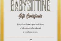 Babysitting Gift Certificate Template 6 Free | Gift within Best 7 Babysitting Gift Certificate Template Ideas