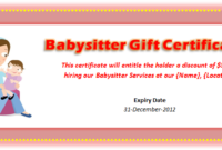 Babysitting Voucher Template – Microsoft Word Templates pertaining to Best Free Printable Babysitting Gift Certificate