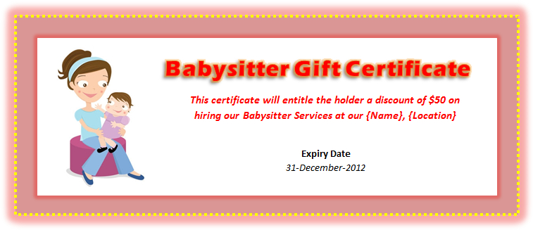 Babysitting Voucher Template - Microsoft Word Templates Pertaining To Best Free Printable Babysitting Gift Certificate