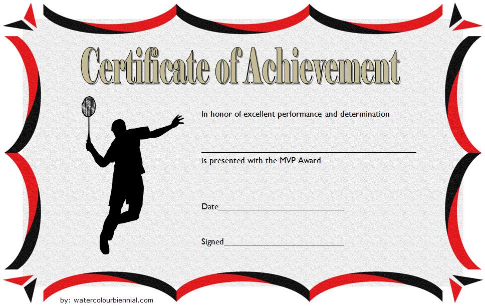 Badminton Achievement Certificate Free Printable 3 In 2020 in Best Badminton Achievement Certificates