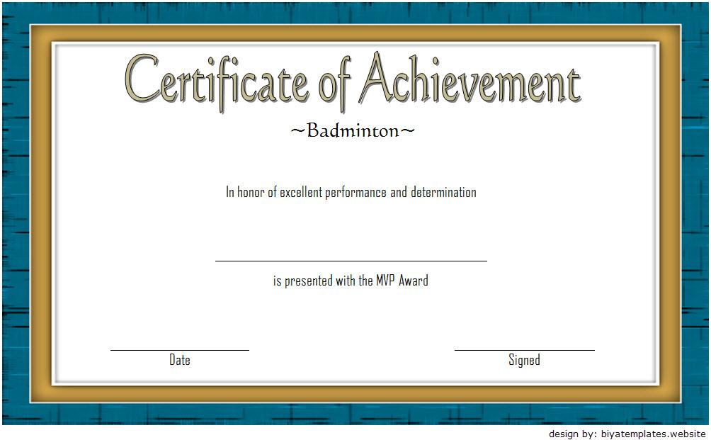 Badminton Achievement Certificate Free Printable 6 In 2020 With Regard To Badminton Achievement Certificate Templates