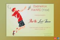 Badminton Award Certificate (Green Themed) – Gct for Badminton Achievement Certificates