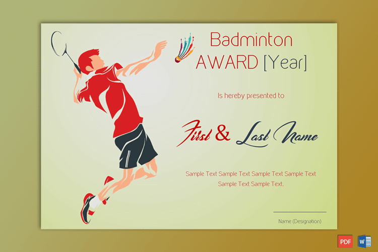Badminton Award Certificate (Green Themed) - Gct For Badminton Achievement Certificates