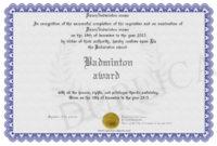 Badminton-Award regarding Best Badminton Achievement Certificates