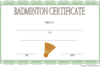 Badminton Certificate Template Free 1 In 2020 | Certificate in Best Badminton Certificate Template
