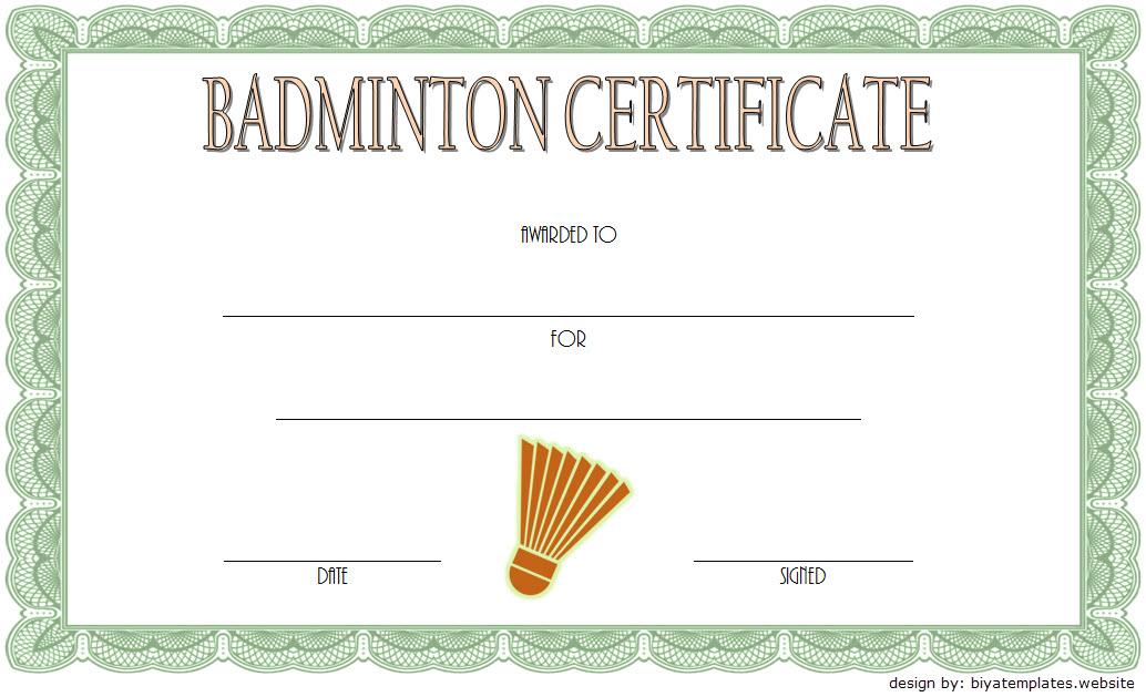 Badminton Certificate Template Free 1 In 2020   Certificate Throughout Unique Badminton Certificate Template Free 12 Awards