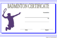 Badminton Certificate Template Free 2 In 2020 | Certificate pertaining to Best Badminton Achievement Certificates
