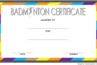 Badminton Certificate Template Free 4 In 2020   Certificate for Badminton Certificate Template