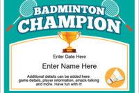 Badminton Champion Certificate – Free Award Certificates with Badminton Certificate Template