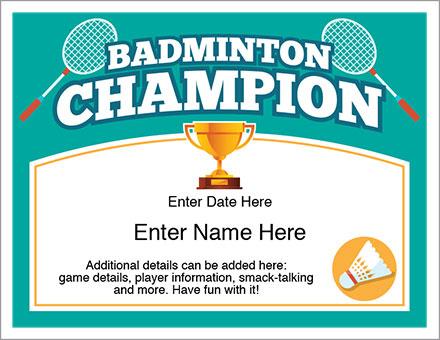 Badminton Champion Certificate - Free Award Certificates With Badminton Certificate Template