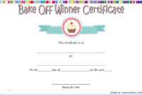 Bake Off Winner Certificate Template Free 2 | Certificate pertaining to Fresh Cooking Contest Winner Certificate Templates
