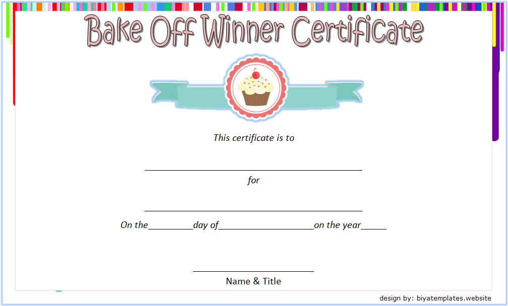 Bake Off Winner Certificate Template Free 2 | Certificate Regarding Unique Certificate Of Cooking 7 Template Choices Free