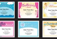Ballet Certificates Templates | Ballernina Awards | Kids Dance throughout Ballet Certificate Template