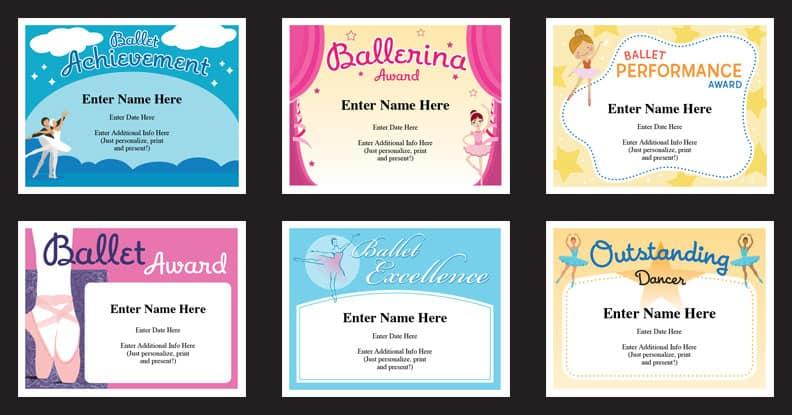 Ballet Certificates Templates | Ballernina Awards | Kids Dance Throughout Ballet Certificate Templates