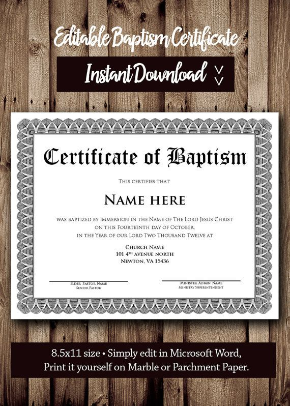 Baptism Certificate Template - Microsoft Word Editable With Regard To Baptism Certificate Template Word 9 Fresh Ideas