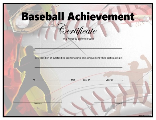 Baseball Certificate - Free Printable - Allfreeprintable throughout Baseball Achievement Certificate Templates