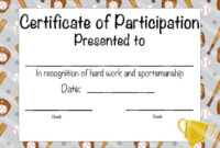 Baseball Certificate Of Participation Baseball Award Print inside Unique Baseball Achievement Certificate Templates