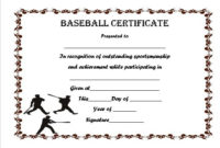 Baseball Certificate Template Word | Certificate Templates inside Unique Baseball Achievement Certificate Templates