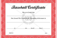 Baseball Certificate Templates Baseball Award Certificate within Baseball Award Certificate Template
