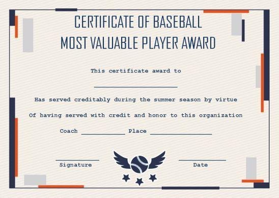 Baseball Mvp Certificate: 10 Templates To Customize Online Throughout Mvp Certificate Template